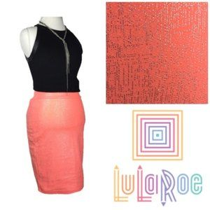 LuLaRoe Pink Coral and Silver Accents Cassie Skirt